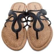 Scroll Strap Cork Sandals Black