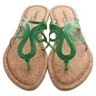 Scroll Strap Cork Sandals Green