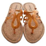 Scroll Strap Cork Sandals Orange
