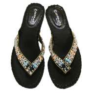 Matisse Beaded Thong Sandals Black