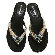 Matisse Beaded Thong Sandals Black