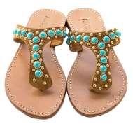 Mystique Turquoise Brown Sandals Light Brown