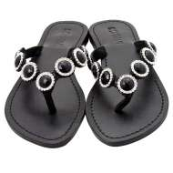 Mystique Jeweled Sandals Coral Black