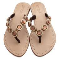 Mystique Jeweled Sandals Coral Bronze