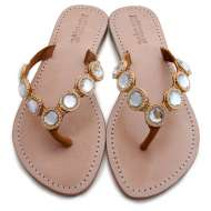 Mystique Jeweled Sandals Coral Clear