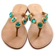 Mystique Jeweled Sandals Coral Emerald