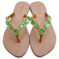 Mystique Jeweled Sandals Coral Green