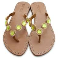 Mystique Jeweled Sandals Coral Green Peridot