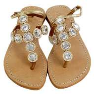 Mystique Strap Jewel Gold Sandals Clear
