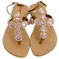 Mystique Strap Jewel Gold Sandals Pink