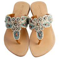 Mystique Natural and Turquoise Sandals Multi
