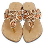 Mystique Natural and Turquoise Sandals Orange