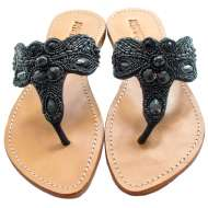Mystique Fancy Beaded Sandals Black
