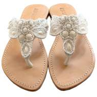 Mystique Fancy Beaded Sandals White