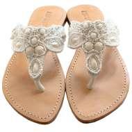 Mystique Fancy Beaded Sandals White