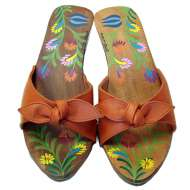 Mystique Hand-Painted Bow Sandals Melon