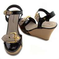 Cork Wedge Gold Round Buckle Black/Brown