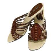 Leather Strappy Mule in Brown