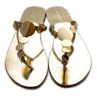 Disk T Strap Sandals Gold