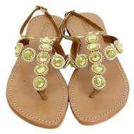 Mystique Strap Jewel Gold Sandals Green