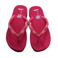 Matisse Beaded Beach Sandals Red