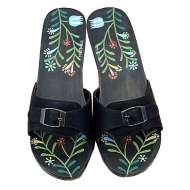 Mystique Hand-Painted & Flower Slide Brown Fern