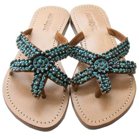 Mystique Turquoise Starfish Beaded Brown