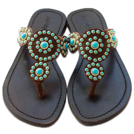 Mystique Brown Indian Blossom Sandals Turq