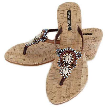Mystique Cork Wedge Sandals