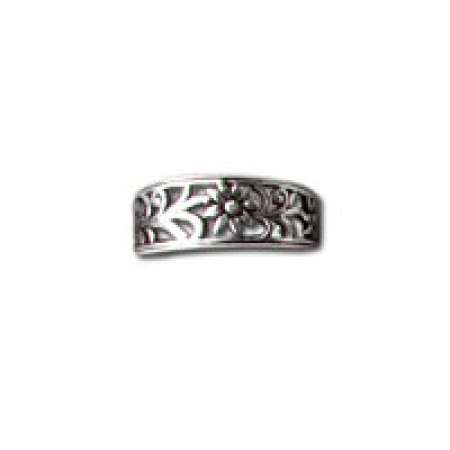 Sterling Silver Toe Ring Flowers And Leaves