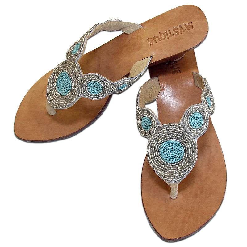 1f164f66d16d Mystique Beaded Turquoise   Gold Sandals Flat Thong Women s Sandals