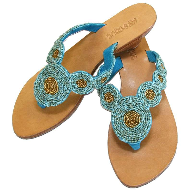 961495cb0c70f Mystique Beaded Turquoise   Gold Sandals Flat Thong Women s Sandals