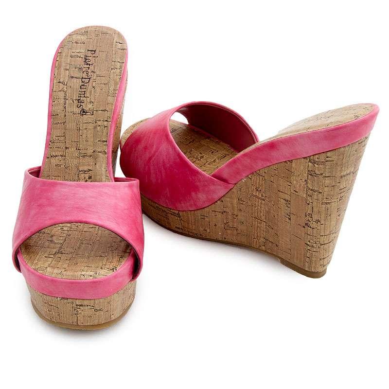 f5aad97dfa77e Pierre Dumas Cork Wedge Platform Flat Slide Women's Sandals