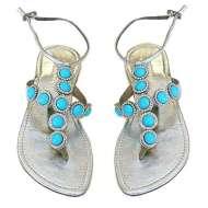 Mystique Silver Metallic Cabochon Sandals Turquoise
