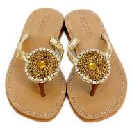 Mystique Circle Rhinestone Sandals Gold