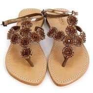Mystique Jewleled Rosette Sandals Bronze