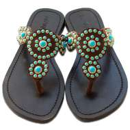 Mystique Brown Indian Blossom Sandals Turq Turquoise