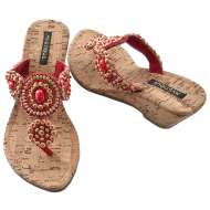 Mystique Cork Wedge Beaded Red