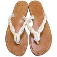 Mystique Shell Flat Sandals White