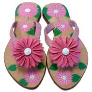 Mystique Hand-Painted Daisy Sandals Pink