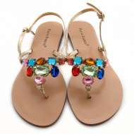 Gold Jeweled Sandals Gold