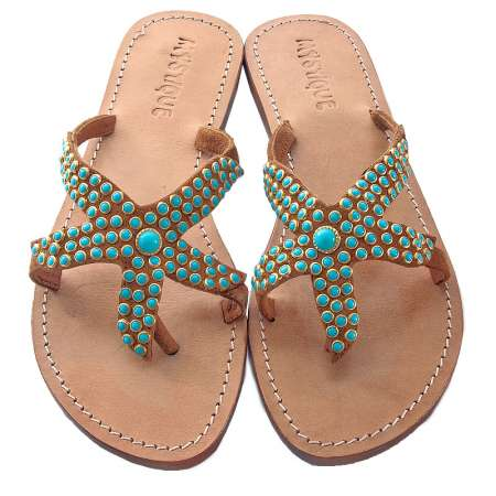 Mystique Turquoise Starfish Sandals