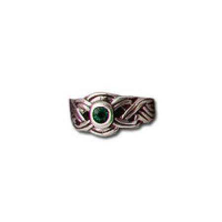 Sterling Silver Toe Ring Oxidized With Green Stone