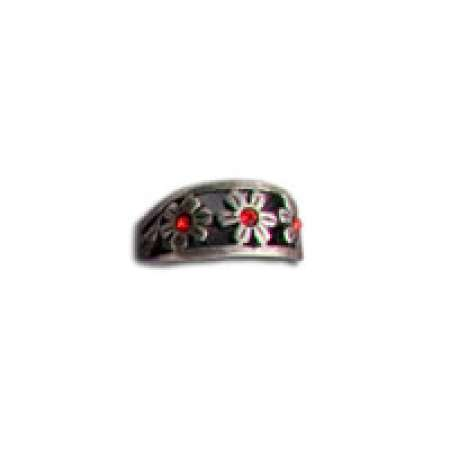 Sterling Silver Toe Ring Flowers With Red Stones