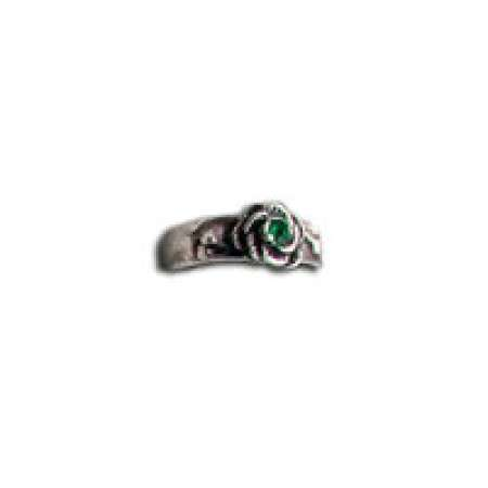 Sterling Silver Toe Ring Rosette With Emerald Green